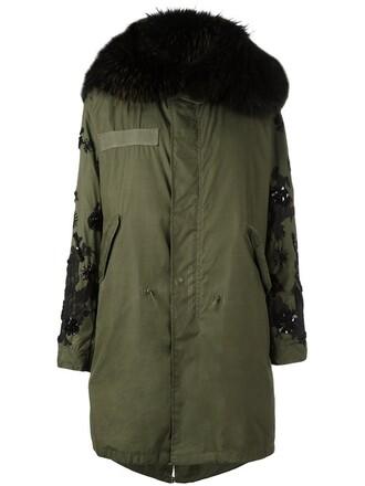 parka fur women green coat