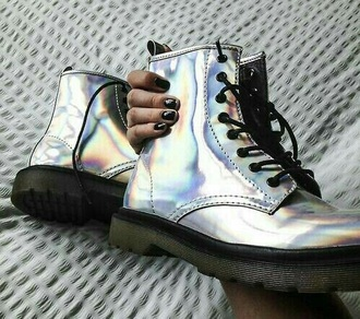 shoes drmartens holographic boots