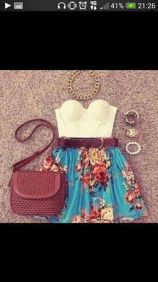skirt flowers floral skirt turquoise summer spring spring fashion