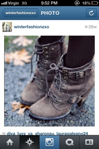 shoes boots brown high heels straps fall outfits winter outfits zip cute high tops!