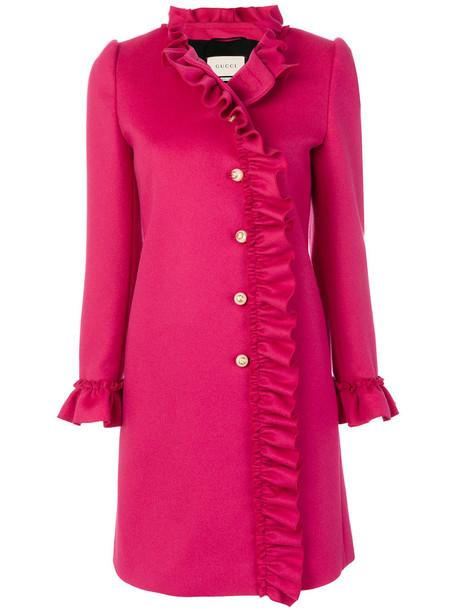 coat ruffle women silk wool purple pink
