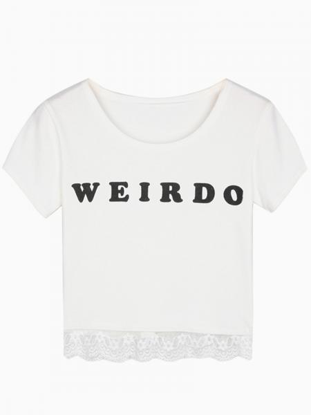 White Weirdo Print Crop Top With Lace Hem - Persunmall.com