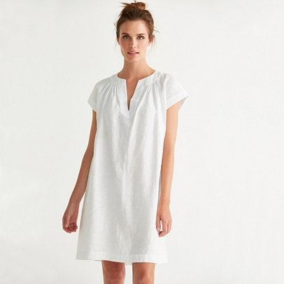 great look world-wide free shipping clear-cut texture Linen Notch Neck Dress | Dresses & Skirts | Clothing | The White Company US