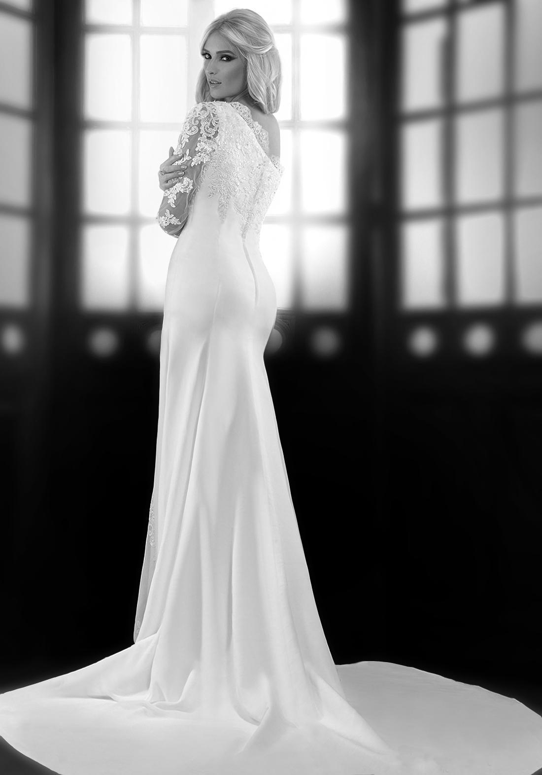 Dramatic One Sheer Long Sleeve Wedding Dresses High Side Split