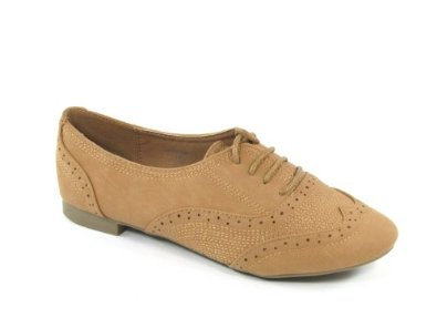 Amazon.com: Cambridge 33 Perforated lace Ups Oxfords Flats Shoes CAMEL: Shoes