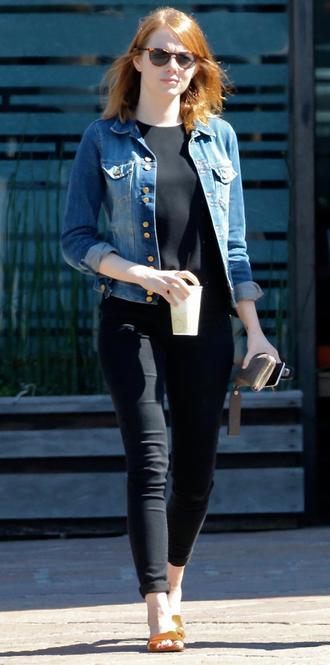 jacket jeans denim jacket emma stone flip-flops shoes sandals