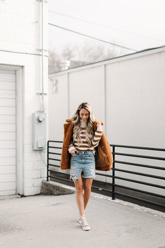 styled avenue blogger coat sweater skirt shoes jewels denim skirt winter outfits