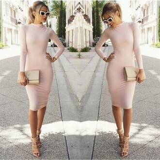 dress pink women long sleeve bodycon dress pink pink dress long long sleeves long sleeve dress bodycon girl girly bag sexy slim sexy dress slim dress party dress high heels sunglasses bodycon dress classy