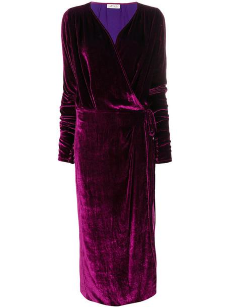 dress wrap dress women silk velvet purple pink