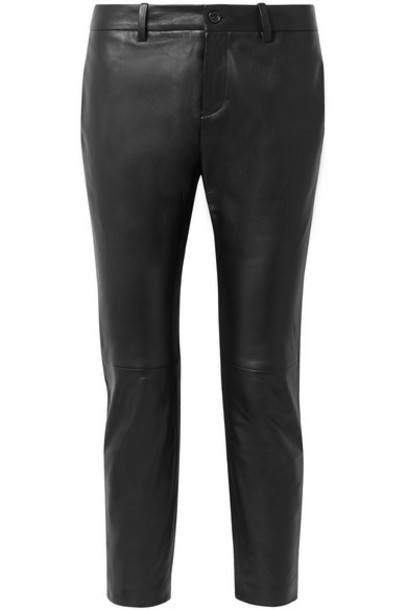 Nili Lotan - Tel Aviv Cropped Leather Skinny Pants - Black