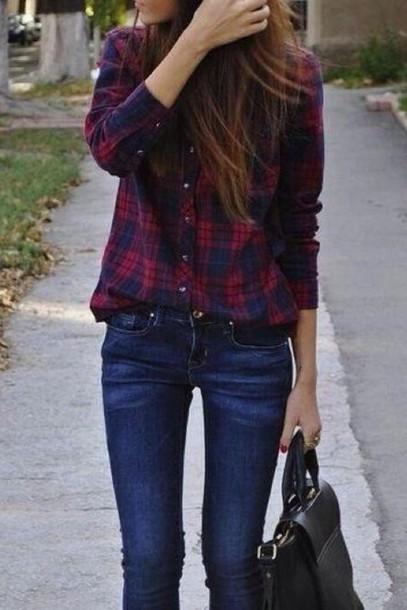 shirt plaid skirt