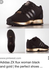 shoes,black,gold,black and gold,adidas,adidas shoes,black and gold adidas zx fluxx,adidas zx flux,zx flux,adidas women's zx flux core black copper metallic