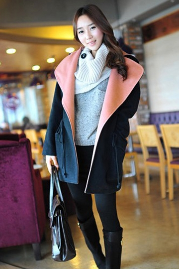 Simple Style Pure Color Hooded Woolen Overcoat [FEBK0310] - PersunMall.com