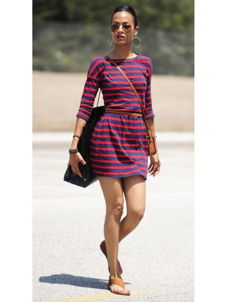 zoe saldana stripes dress