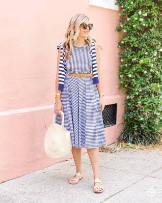 dress tumblr gingham midi dress sunglasses bag round bag round tote sandals flat sandals summer dress shoes gingham dresses