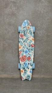 jewels,board,cruiser,flowers,blue,skate board,long board
