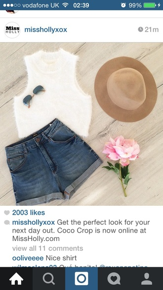 top white top crop tops halter neck top fluffy top furry top high waisted shorts high waisted brown hat spring summer floral style fashion outfit vintage bureau shorts hat halter crop top