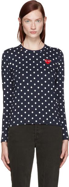 Comme Des Garçons Play Navy Polka Dot Heart Patch T-shirt