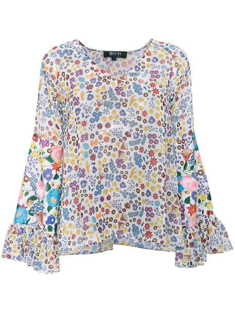All Things Mochi blouse women floral cotton print top