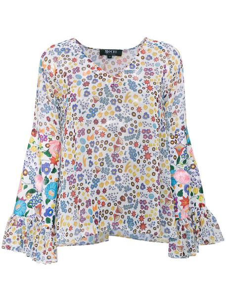 blouse women floral cotton print top