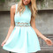 Blue party dress - mint turtle-neck dress with cut-out | ustrendy