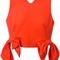 Msgm tied detail cropped top, women's, size: 40, yellow/orange, cotton/polyamide/spandex/elastane/polyester