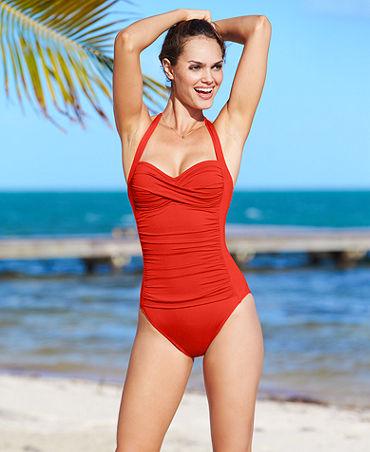 2cbac5daa730d La Blanca Swimsuit, Halter Ruched One-Piece - Swimwear - Women - Macy's