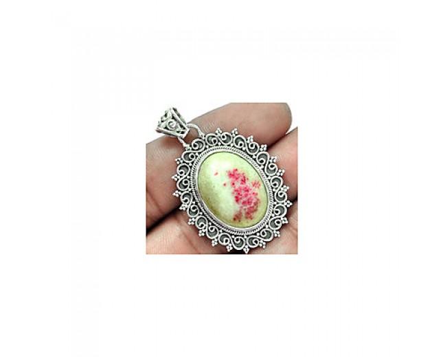 Handmade 925 sterling silver Cinnabar Pendant