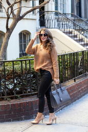 the corporate catwalk,blogger,rust,knitted sweater,oversized sweater,skinny pants,handbag,sweater,pants,jeans,shoes,bag,coat,sunglasses