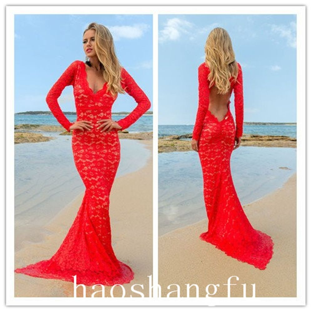 Beach Sexy Red Lace Long Sleeve Backless Cocktail Evening Party Dress Custom | eBay