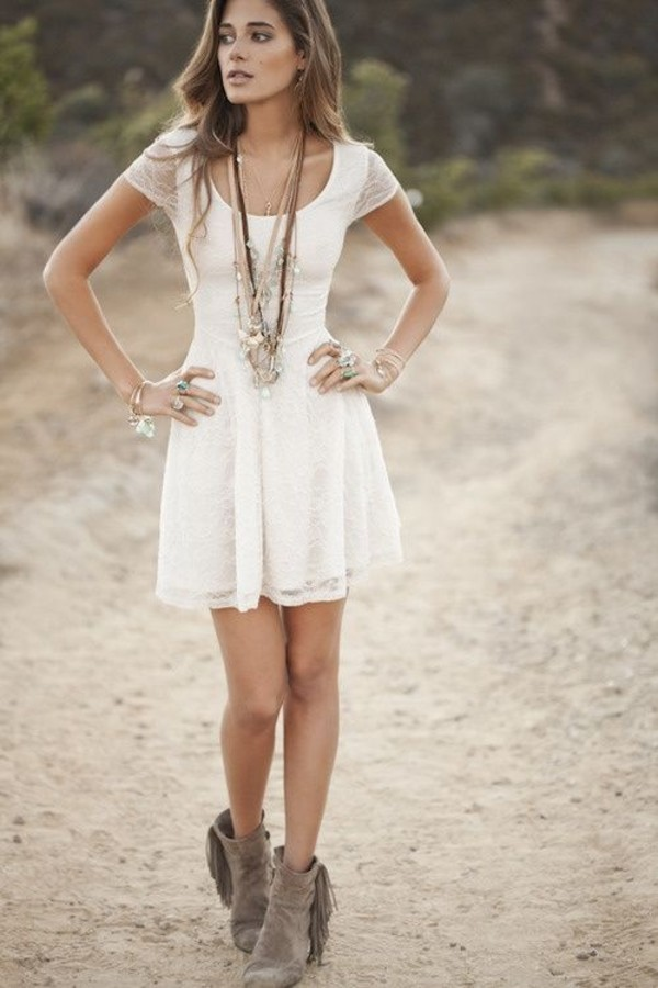 Dress: white dress, summer, summer dress, girly, jewels, shoes ...
