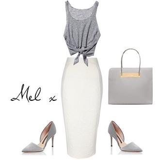 tank top grey tank top white skirt bag skirt bag shoes