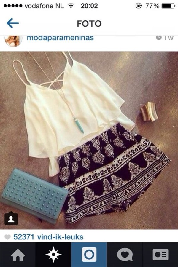 t-shirt shirt top white cropped top shorts blouse