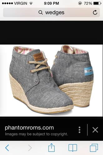 shoes wedges toms grey heel
