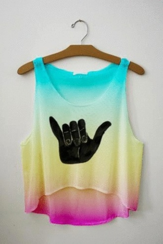 tank top teenagers hipster cute flowy blouse i saw it on tumblr top crop cropped shirt surf colorful multicolor