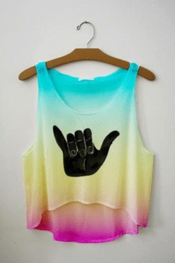 tank top teenagers hipster cute flowy blouse i saw it on tumblr top crop cropped shirt surf surf colorful multicolor
