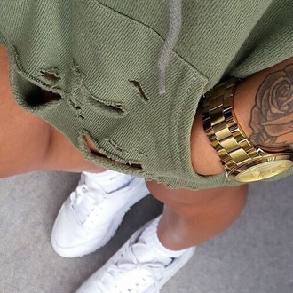 sweater ripped wholes khaki green swag style new girl