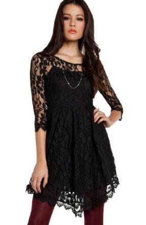 Amazon.com: DailyLook Women's, Eyelash Lace Fit and Flare Dress: Clothing