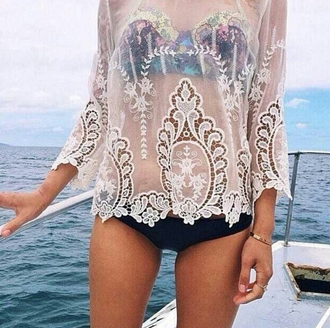 blouse see through mesh swimsuit coverup indie ocean