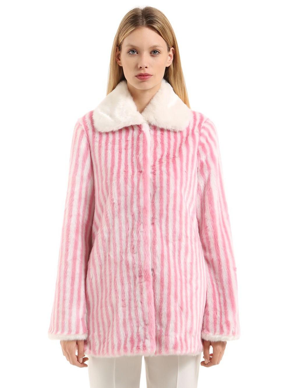 MARCO DE VINCENZO Striped Faux Fur Coat in pink / white