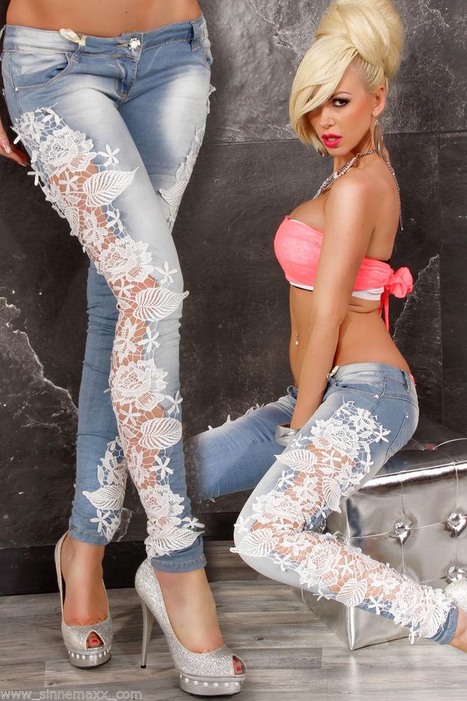 Exlusive Designer Luxus Jeans mit Spitze Häkel Push Up Jeans mit Spitzeneinsatz | eBay