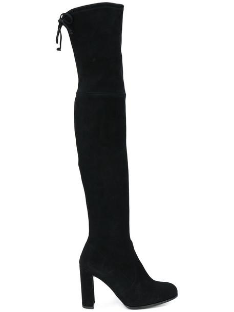 STUART WEITZMAN women leather suede black shoes