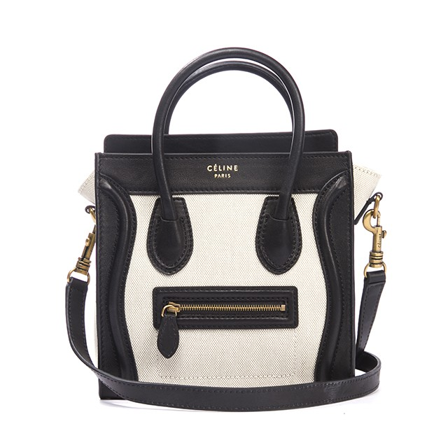 6ddb1f30fa Celine Black Leather and Ivory Canvas Nano Mini Luggage Bag w Strap