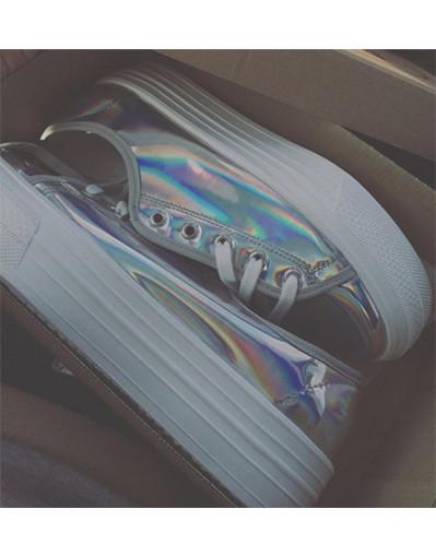Metallic leather sneakers new fashion brand flat heels platform
