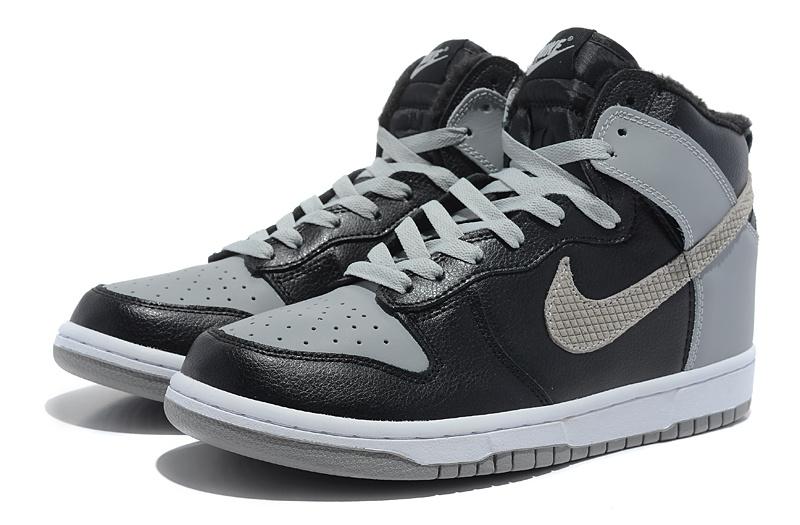 Nike dunk high tops grey black fur inside wholesale authentic