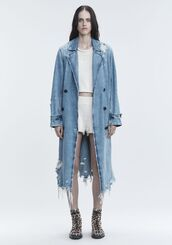 coat,alexander wang,trench coat,denim,denim jacket,vintage,acid wash,destroyed denim,ripped,long coat,clothes,outerwear,90s style,duster coat,minimalist,fashion,women,outfit idea,jacket