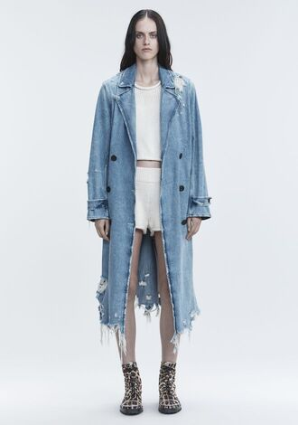 coat alexander wang trench coat denim denim jacket vintage acid wash destroyed denim ripped long coat clothes outerwear 90s style duster coat minimalist fashion women outfit idea jacket
