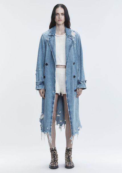 066a1a29fb31 coat alexander wang trench coat denim denim jacket vintage acid wash  destroyed denim ripped long coat