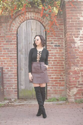 oh va darling blogger suede skirt lace up lace up top thigh high boots suede boots fall outfits 70s style