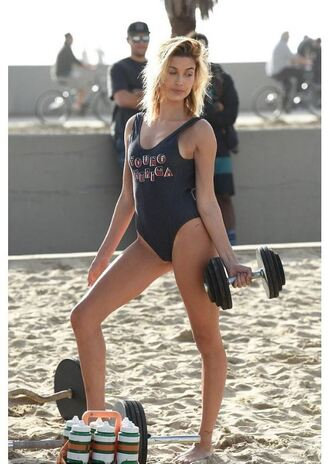swimwear one piece swimsuit hailey baldwin model tommy hilfiger beach